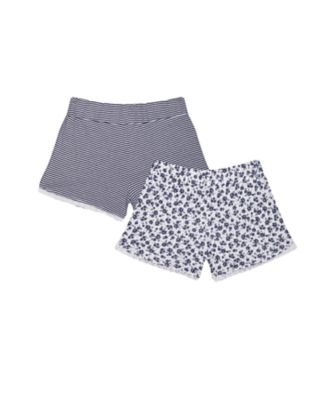 navy stripe and flower shorts - 2 pack