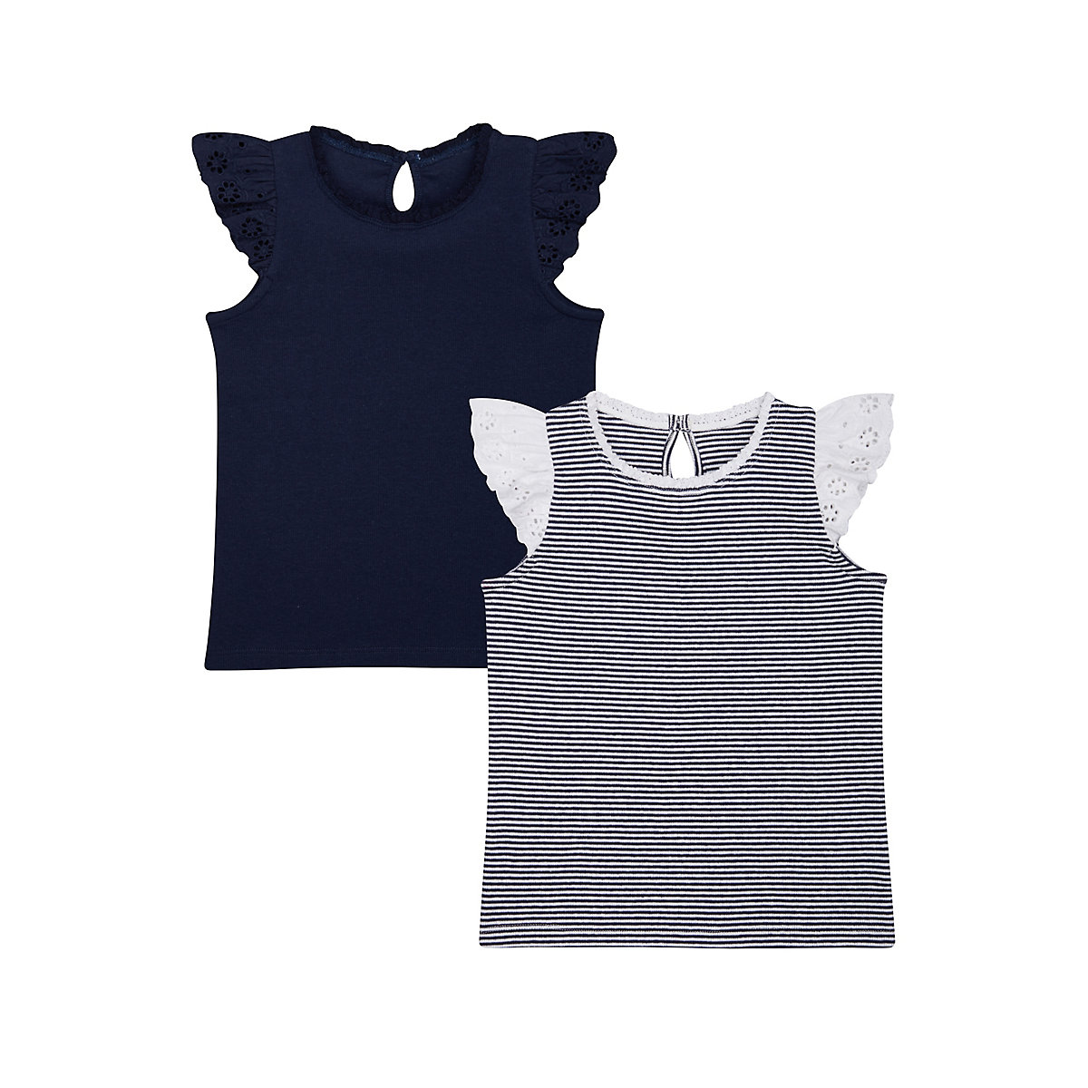 striped and navy frill vest t-shirts � 2 pack