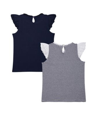 striped and navy frill vest t-shirts – 2 pack