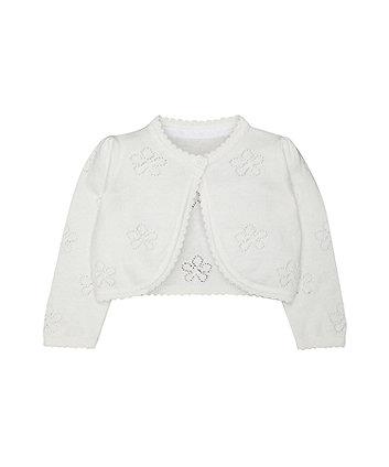 white pointelle bolero cardigan
