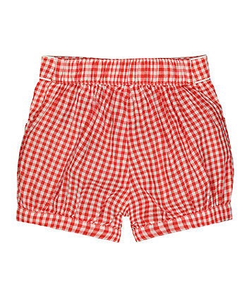 red and white bow gingham shorts