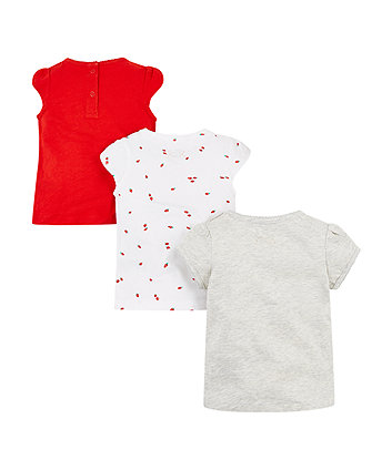 red, berry and grey t-shirts - 3 pack