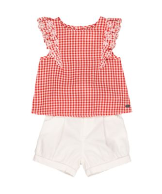 red gingham blouse and white bloomer shorts set