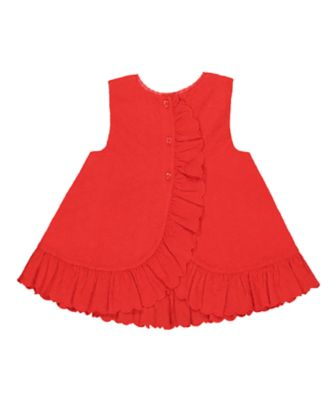 red scallop hem broderie blouse