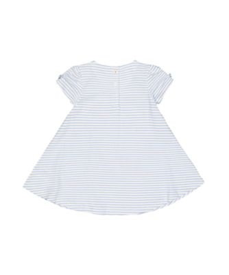 white and blue embroidery stripe dress