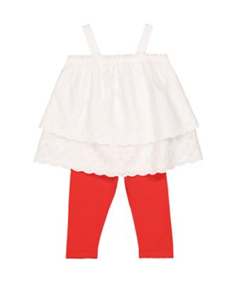 white broderie top and red leggings set