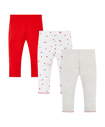 strawberry, red and grey marl leggings – 3 pack