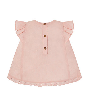 pink dobby lace blouse