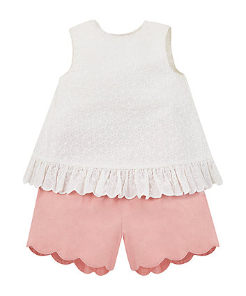 broderie blouse and shorts set