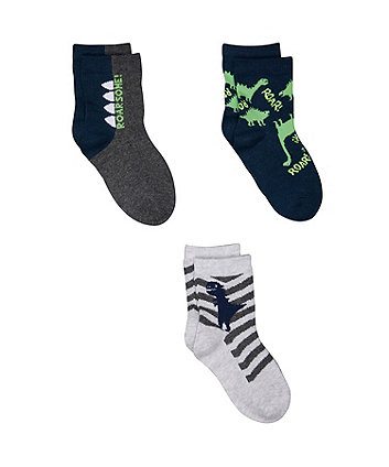 dino and star socks - 3 pack