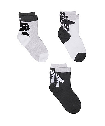 novelty animal socks - 3 pack