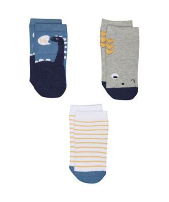 blue dinosaur socks - 3 pack