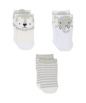 grey animal socks - 3 pack