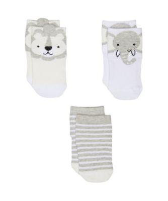 grey animal socks - 3 pack