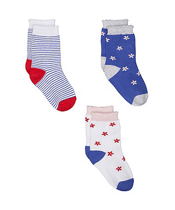 floral and stripe socks - 3 pack