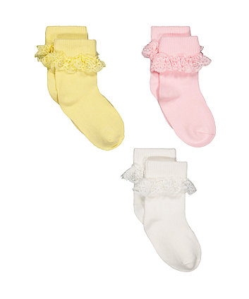 pastel lace turn-over-top socks - 3 pack