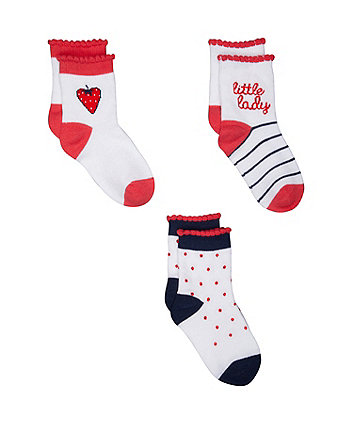 strawberry socks - 3 pack