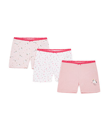 pink unicorn shorts - 3 pack