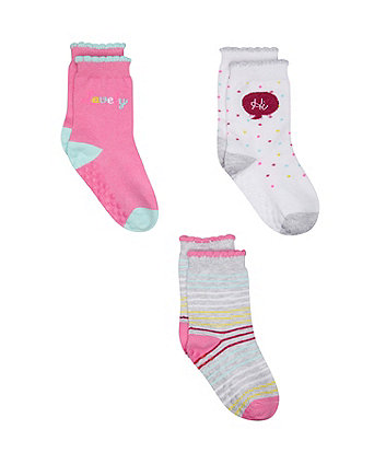 pink slogan socks - 3 pack