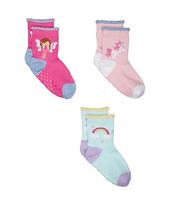 unicorn and rainbow socks - 3 pack