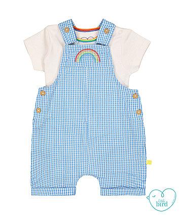 55790cb74 little bird blue gingham rainbow bibshorts and bodysuit set