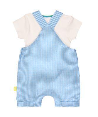 little bird blue gingham rainbow bibshorts and bodysuit set