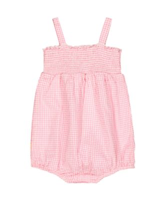 little bird floral pink gingham woven romper
