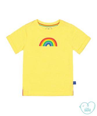 little bird yellow rainbow t-shirt