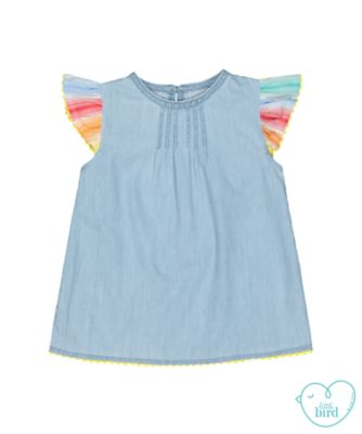 little bird denim blue chambray blouse