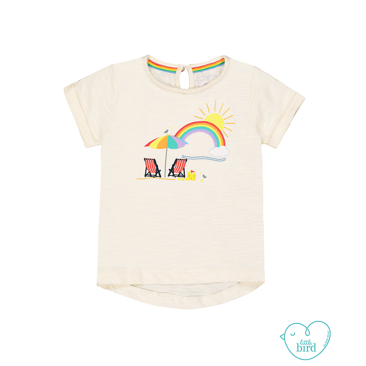 little bird beach scene t-shirt