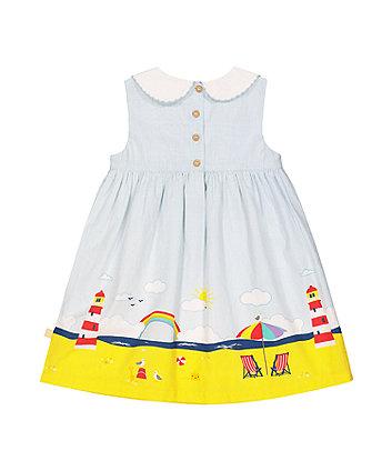 little bird stripe beach scene border dress