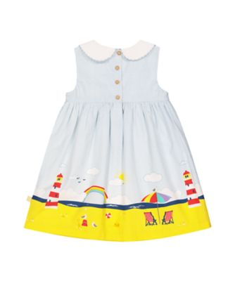 little bird stripe beach scene border dress