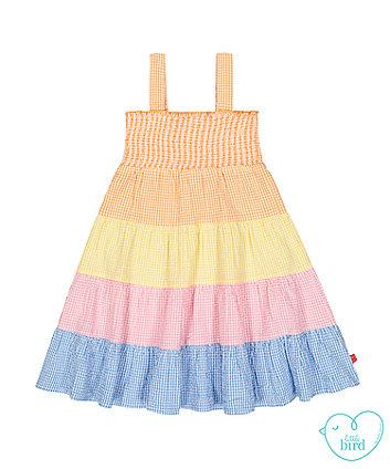 little bird gingham smock dress