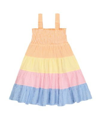 little bird gingham smock dress
