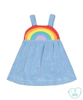 little bird blue rainbow towelling dress