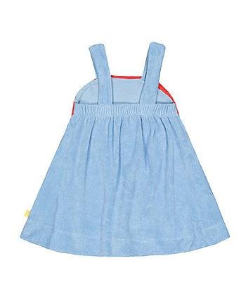 little bird blue rainbow towelling dress