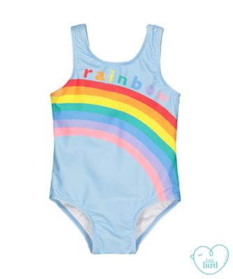 little bird blue rainbow swimsuit