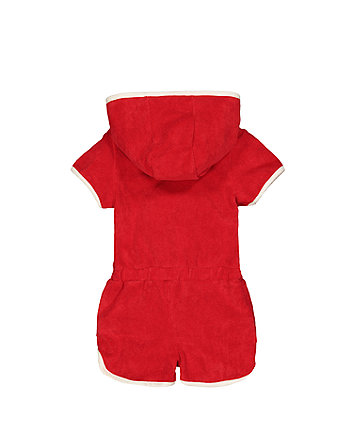 little bird red towelling playsuit