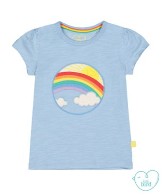 little bird rainbow and clouds scene t-shirt