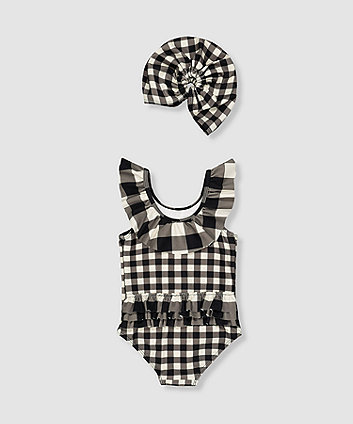 my k black and white gingham swimsuit and hat set