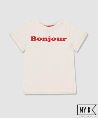 my k white bonjour t-shirt