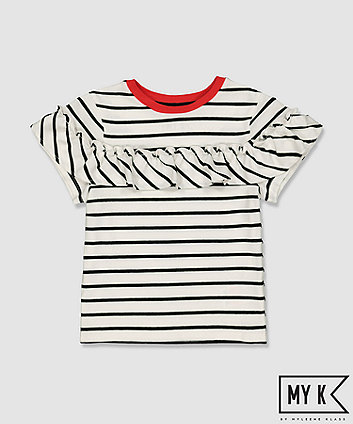 my k striped frill t-shirt