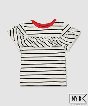 my k striped frill t-shirt