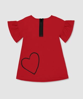 my k red frill-sleeve dress