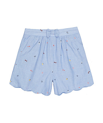 chambray scalloped shorts
