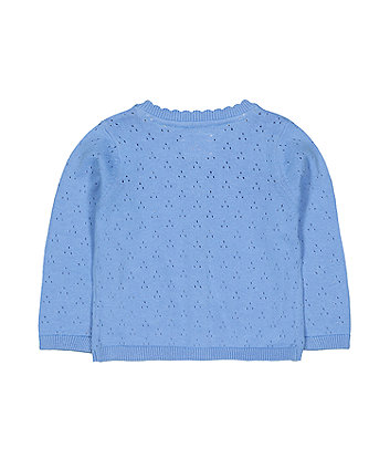 blue pointelle cardigan