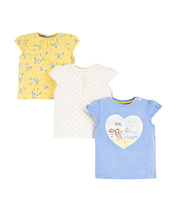 girl, blue and floral t-shirts – 3 pack