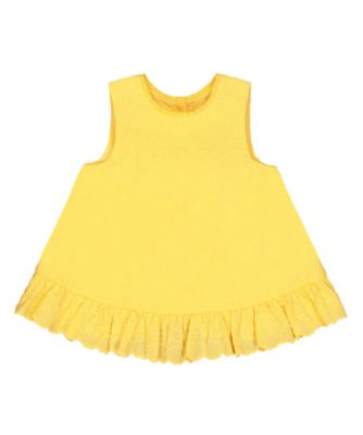 yellow floral broderie frill blouse