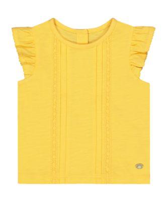 yellow pintuck t-shirt