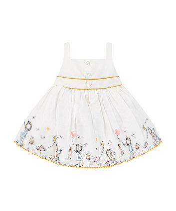 white seaside prom dress